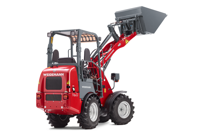 Weidemann Hoftrac 1160 with light materials bucket studio view 2