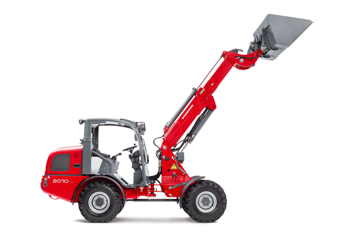 Weidemann telescopic wheel loader 2070 CX LPT with light materials bucket studio view 5