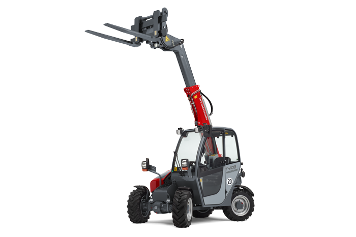 Weidemann telehandler T4108 with light materials bucket studio view 5