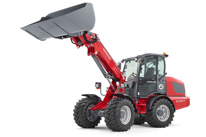 Weidemann telescopic wheel loader 5080T with light materials bucket studio view 3