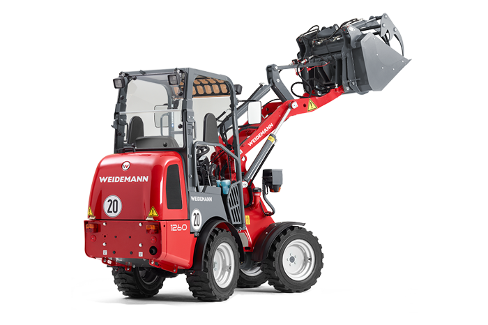 Weidemann Hoftrac® 1260 with light materials bucket studio view 2