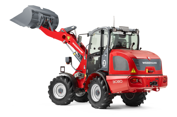 Weidemann wheel loader 3080 with light goods bucket studio view 4