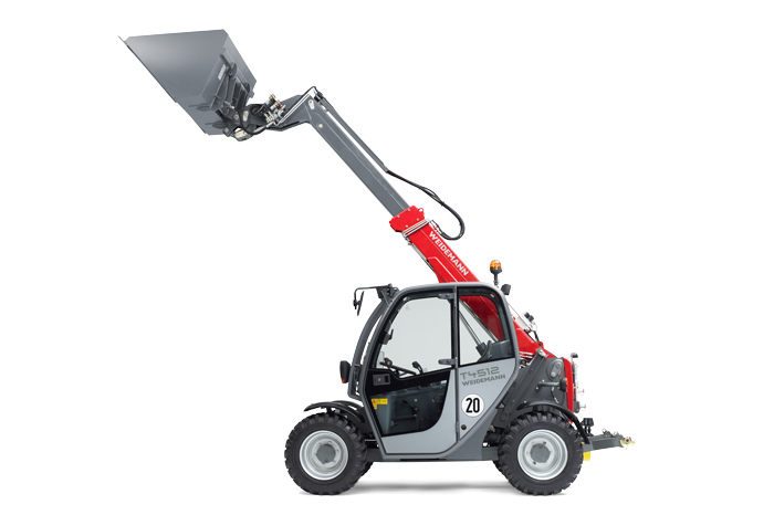 Weidemann telehandler T4512 with light materials bucket studio view 2