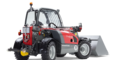Weidemann telehandler T4512 with light materials bucket studio view 1