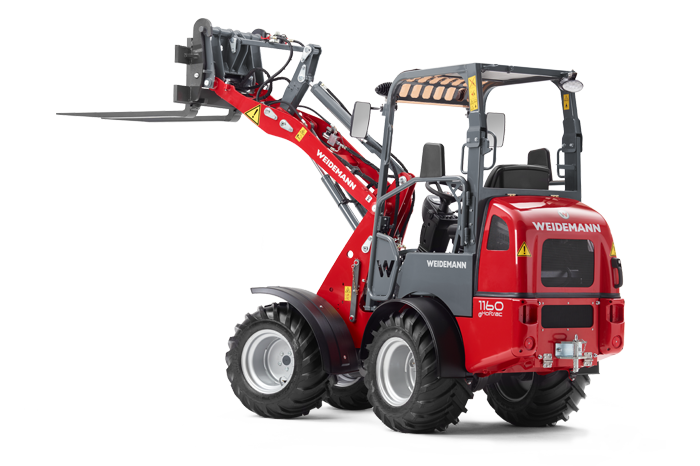 Weidemann 1160 eHoftrac with pallet fork studio view 1