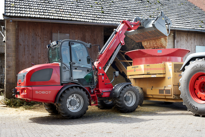 Weidemann telescopic wheel loader 5080T with shear grab application