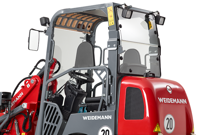 Weidemann Hoftrac® 1260 with light materials bucket studio view 1