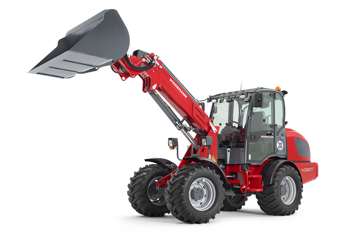 Weidemann telescopic wheel loader 4080T with light materials bucket studio view 3
