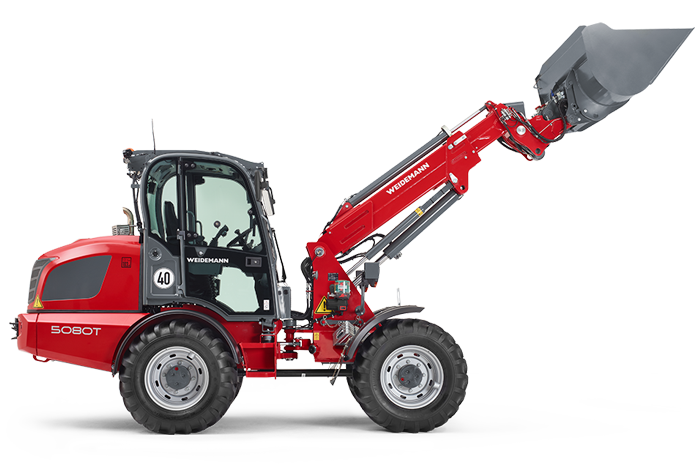 Weidemann telescopic wheel loader 5080T with light materials bucket studio view 4